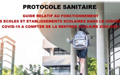 Rentrée Scolaire septembre 2020 – Protocole Sanitaire